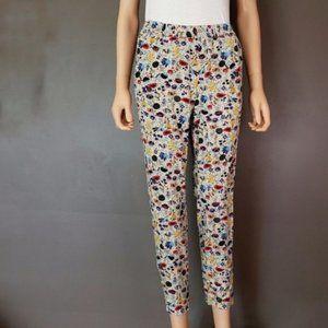 Vintage Floral Print High Waisted Skinny Pants S